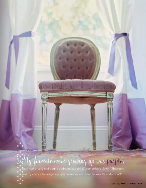 lavender chair purple Lonny Magazine curtains ribbons velvet