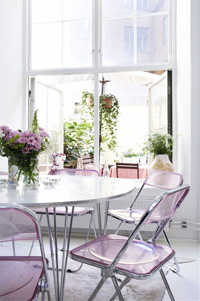 lavender lucite chairs dining light white