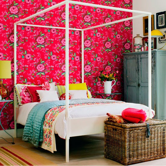 pink wall wallpaper bedroom flowers