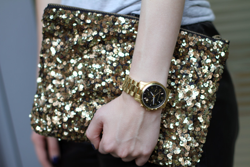 black gold sequin clutch