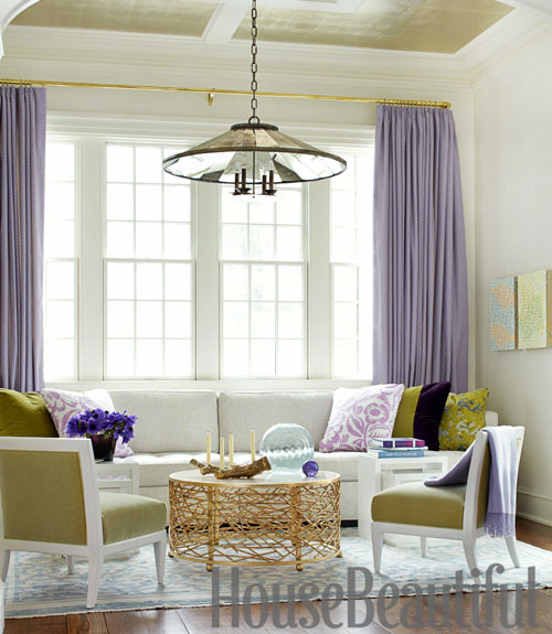 Pat Healing House Beautiful lavender purple living room lime green