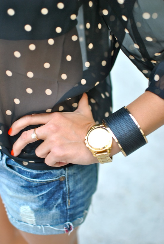 gold watch and polka dots