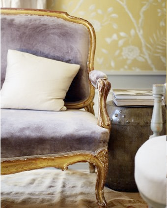 lavender velvet bench purple gold