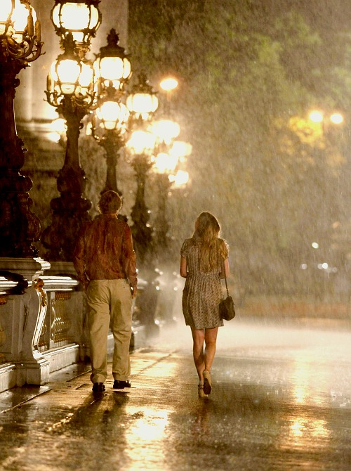 Midnight in Paris rain rainy day weekend Friday