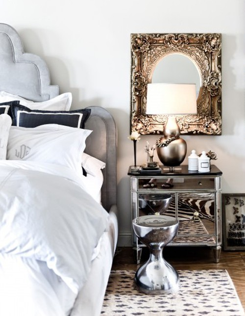 bedside table mirrored white silver gold