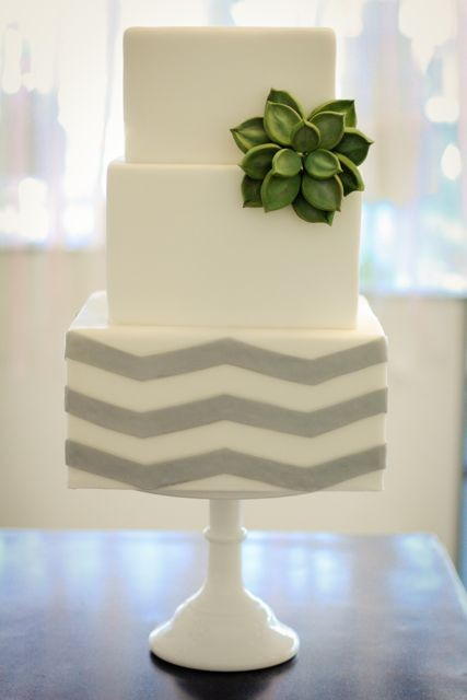 gray chevron cake
