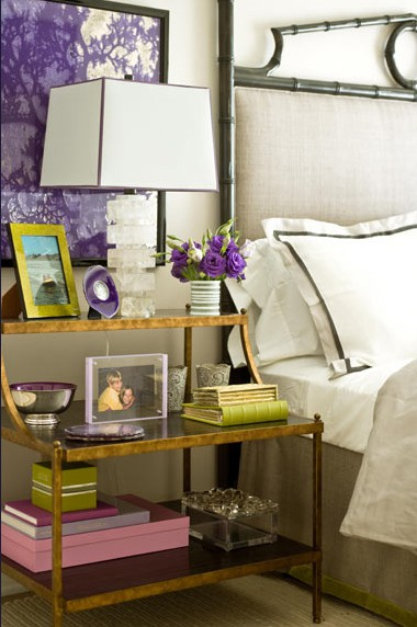 bedside table gold white bed green purple