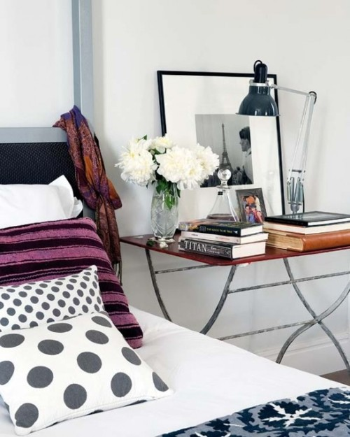 bedside table bed ikat art