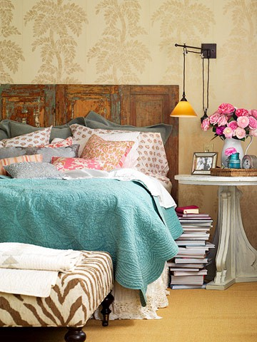 bedside table books bed aqua