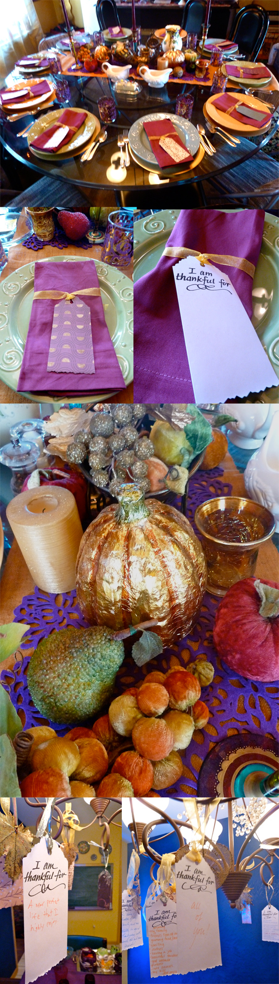 Thanksgiving table gold purple fruit