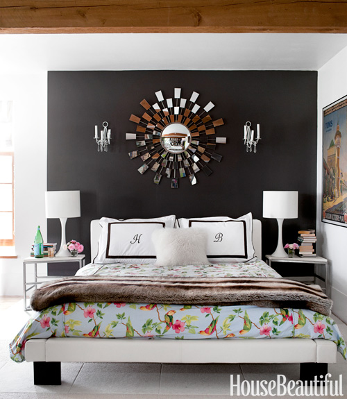 Deirdre Heekin Caleb Barber country cottage House Beautiful bedroom black flowers white
