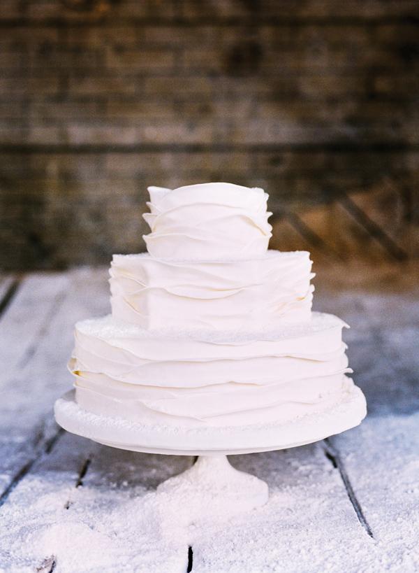 white cake snow wedding layers