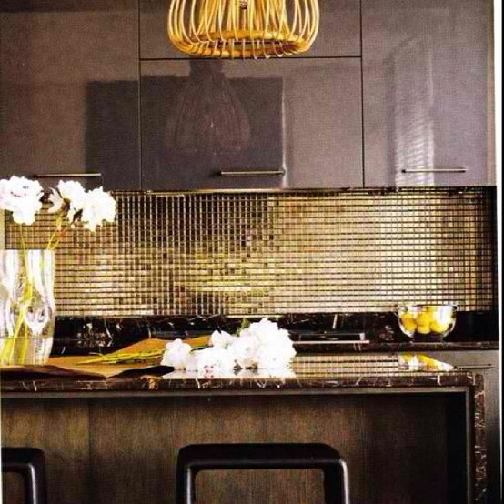 gold kitchen backsplash sparkle