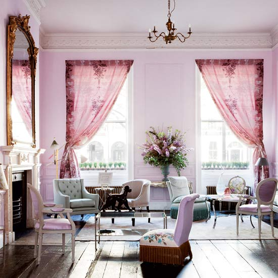 candy colored living room pink purple pastel parlor