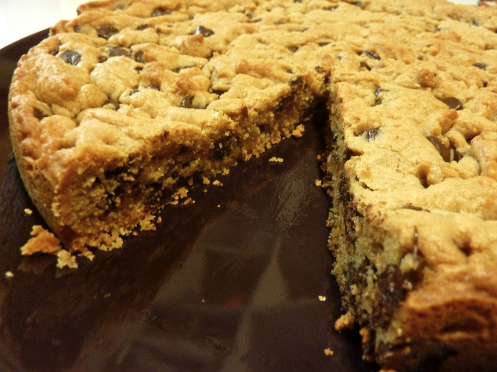 chocolate chip peanut butter cookie pie