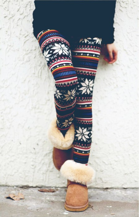 winter cold cozy print fur boots