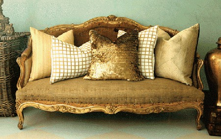 gold couch pillows sparkle