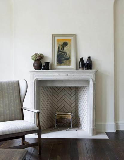 herringbone pattern fireplace white gray