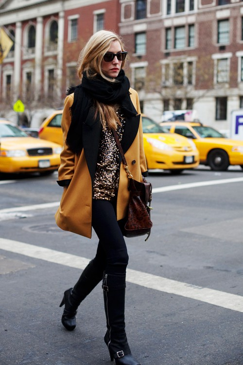 nyc city sparkle yellow coat style Sartorialist