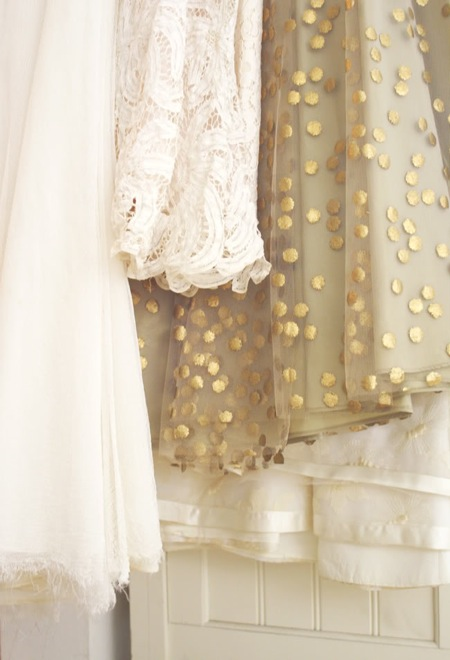 sparkly dresses white polka dot gold