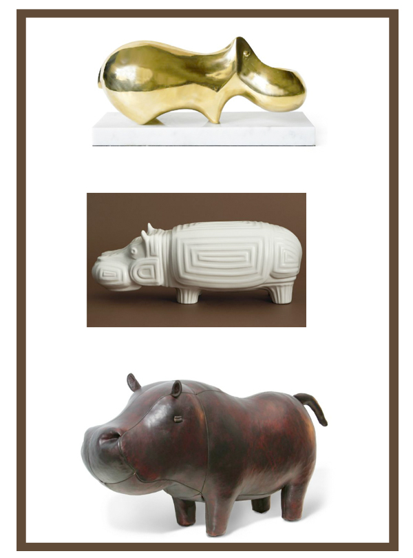 Jonathan Adler hippo brass leather ceramic