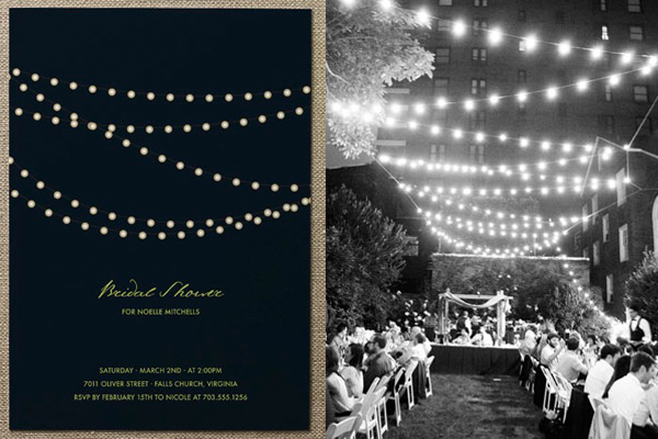 side by side string lights invitation wedding reception