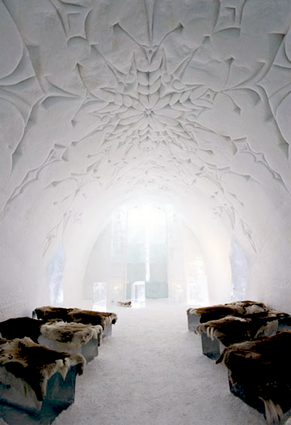 ice hotel ceiling design snow