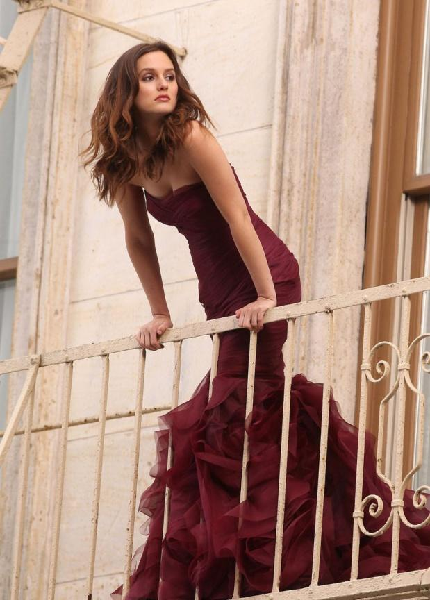 Leighten Meester for Vera Wang burgundy dress