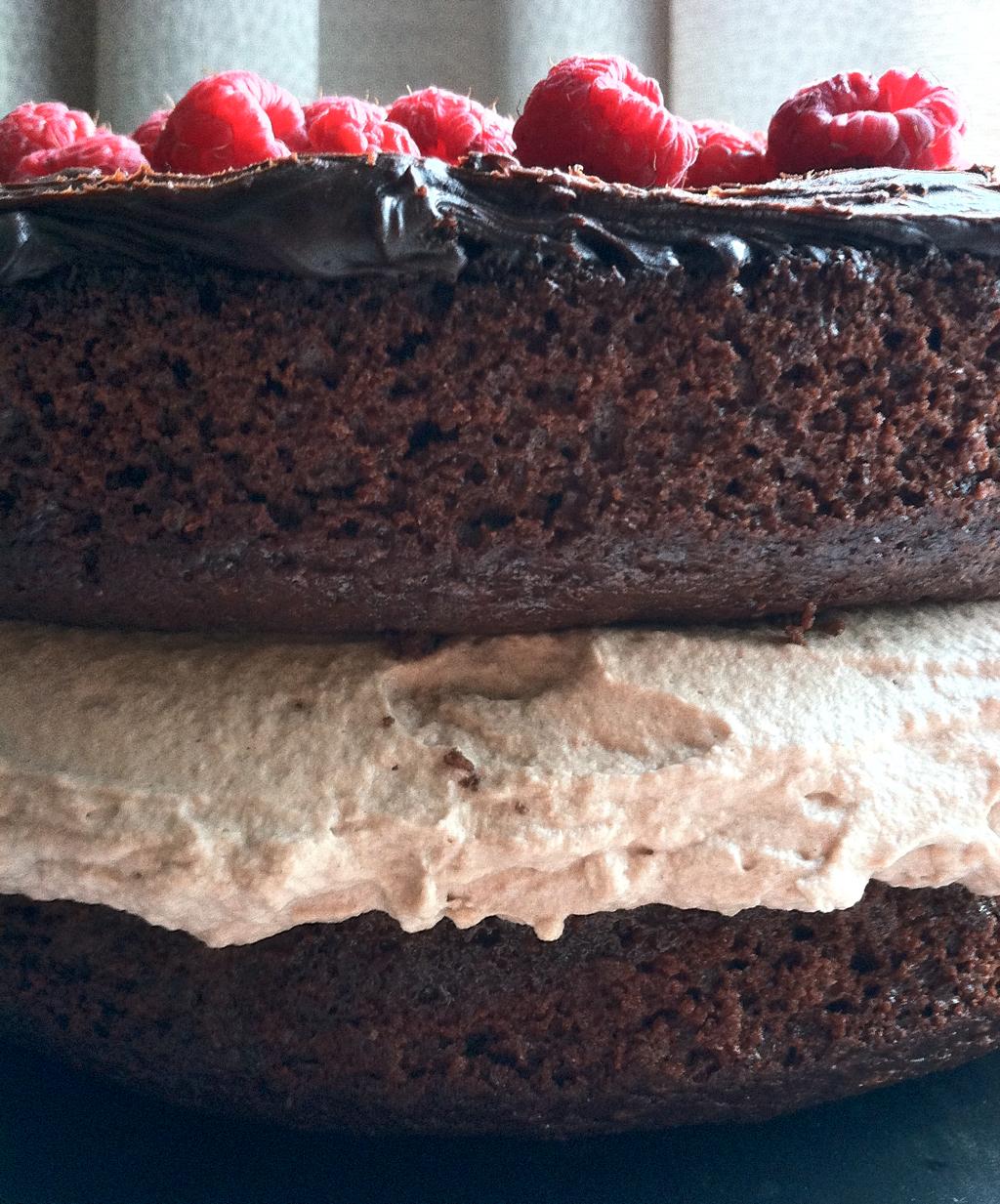 chocolate cake mousse ganache raspberrie