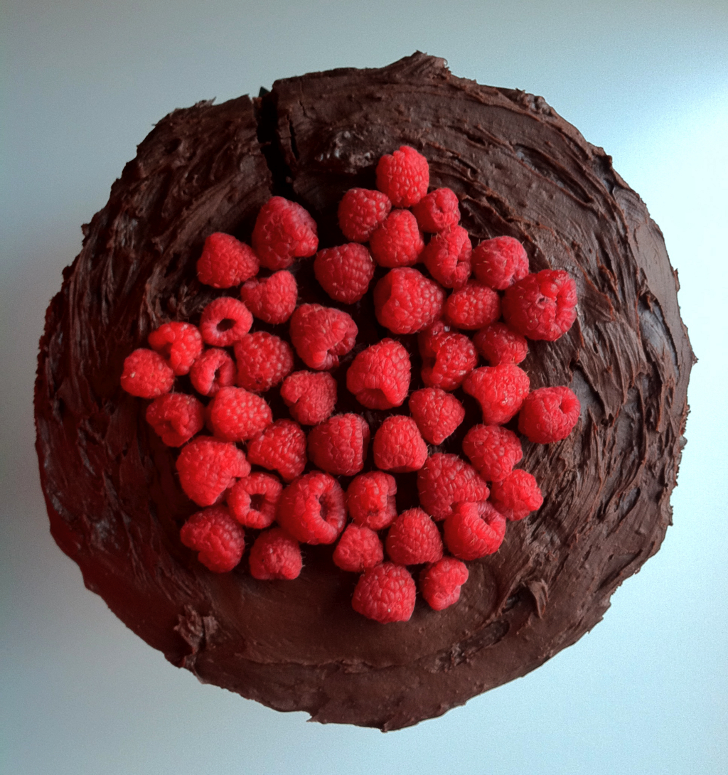 chocolate cake mousse ganache raspberries