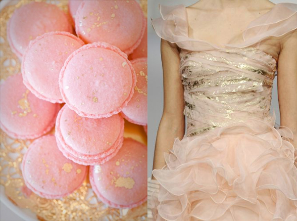 pink gold macarons oscar de la renta dress