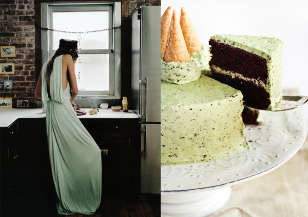 side by side mint chocolate chip dress green