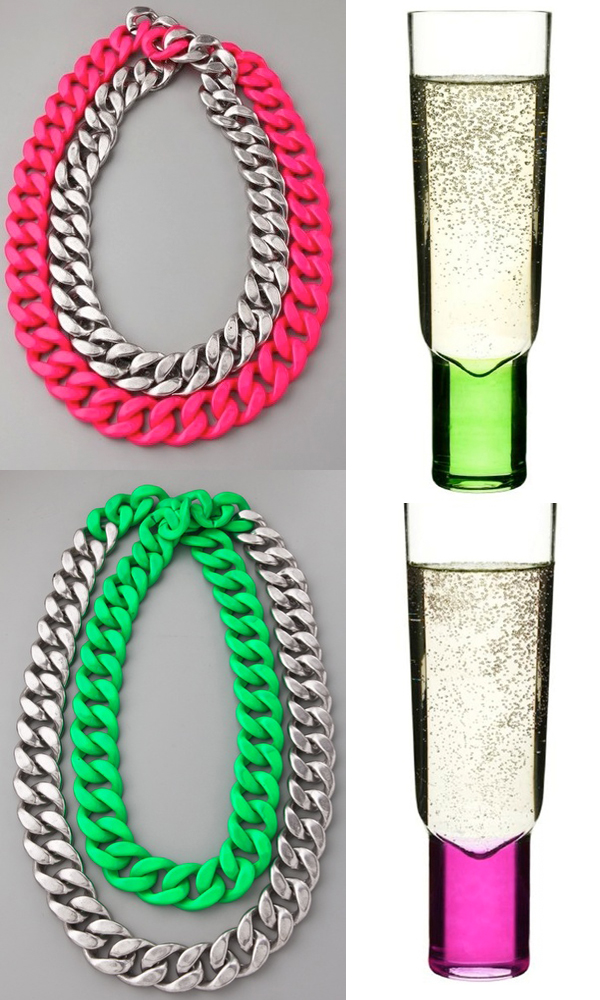 side by side neon necklace Adia Kibur champagne flutes pink green
