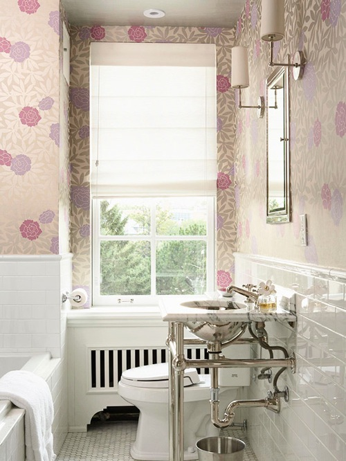girly sweet bathroom wallpaper