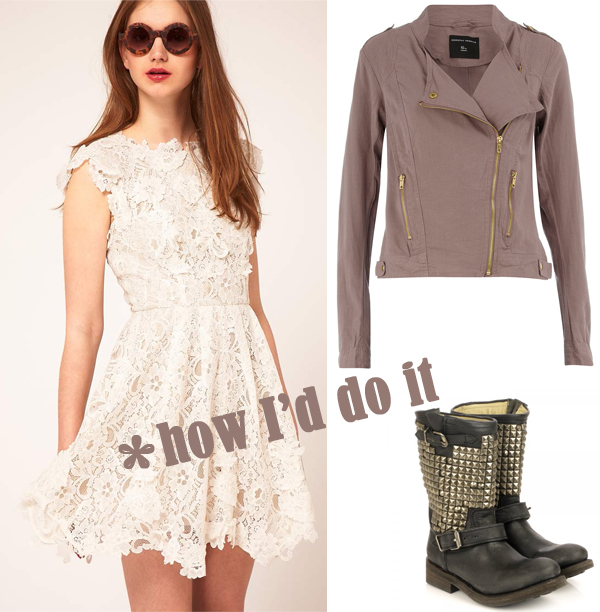 lace dress asos leather jacket dorothy perkins ash studded boots