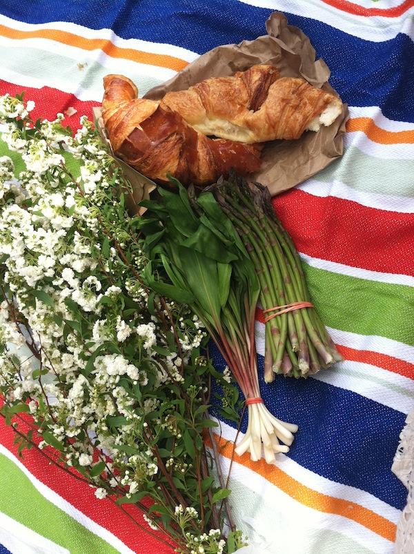 farmer's market flowers, ramps, asparagus, croissants