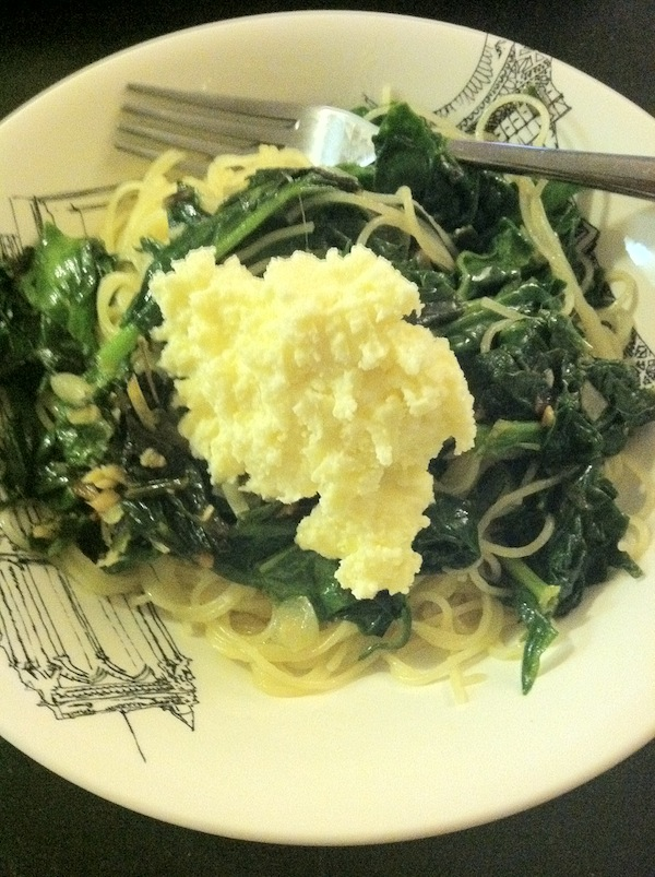 farmer's market pasta ramps spinach ricotta capellini