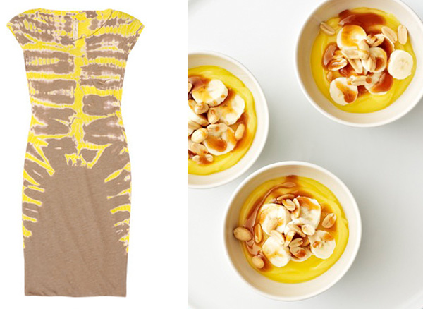 side by side banana caramel dress dessert