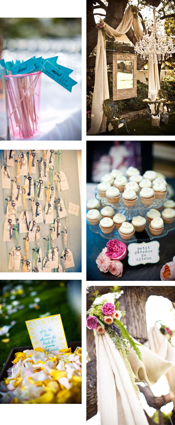 bright wedding details cupcakes keys rose petals
