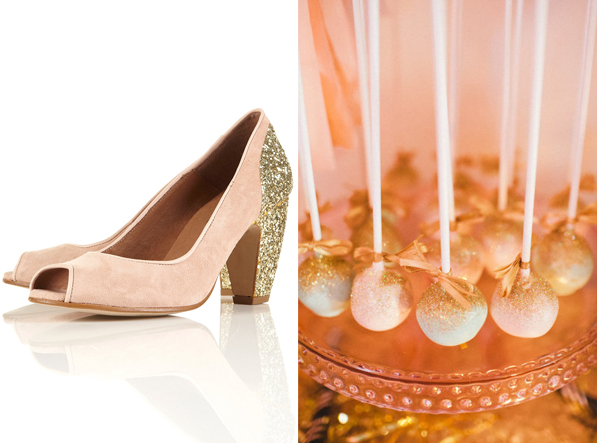 side by side gold glitter blush cake pops pumps heels shoes