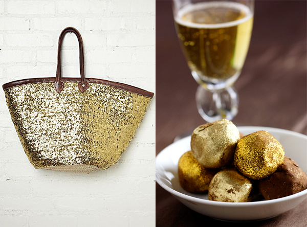 side by side gold glitter tote truffles chocolate