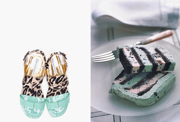 side by side mint chocolate chip DVF sandals