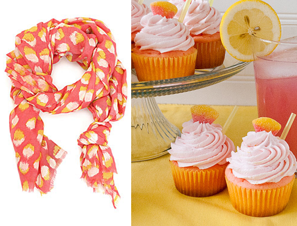 side by side kelly wearstler scarf pink orange lemonade cupcakes