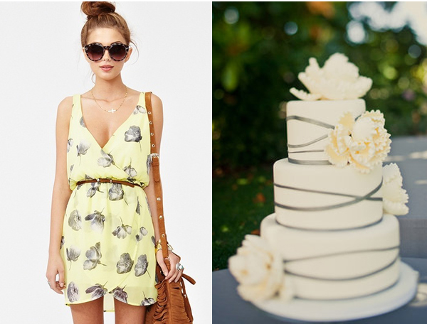 side by side yellow gray dress cake flowers summer