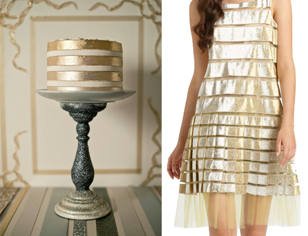 side by side gold metallic stripes cake marc jacobs tulle dress