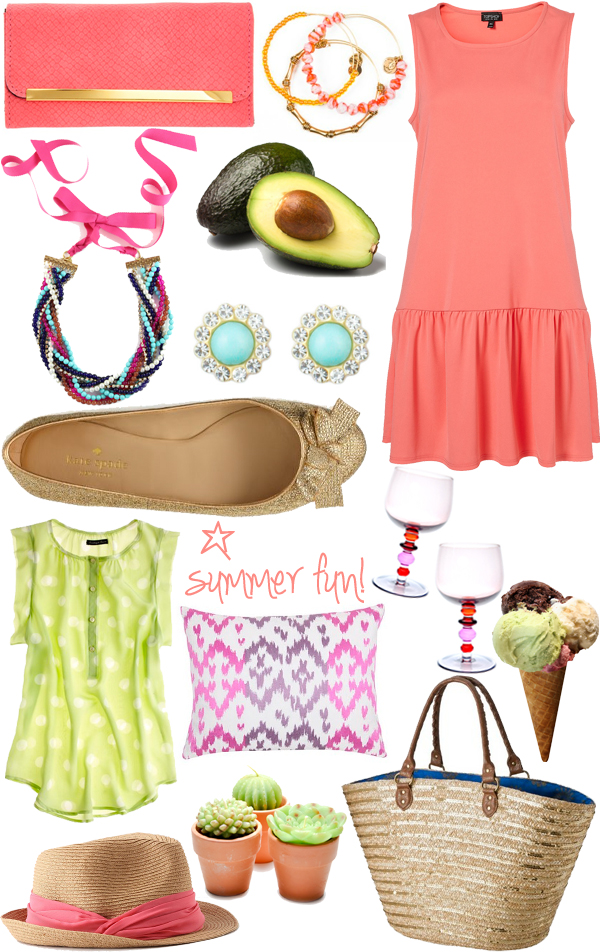 summer faves coral madewell topshop dormify loren hope avocado ice cream target bag dress