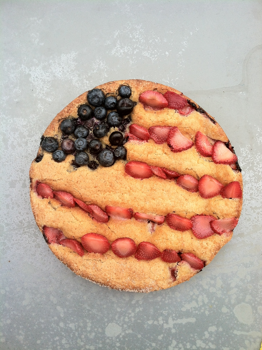 Patriotic Fruit Torte flag strawberries blueberries Magnolia Bakery vanilla whipped cream 4th of July