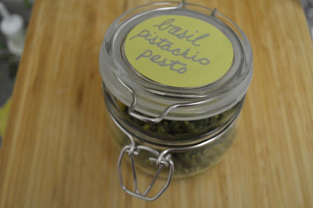 farmer's market basil pistachio basil in a mason jar