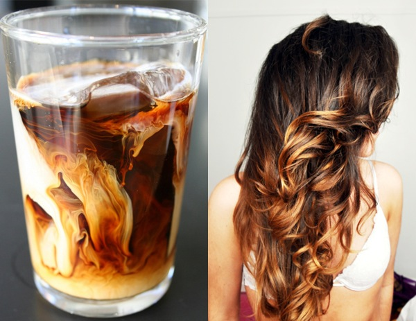 Side by Side: caramel swirl iced coffee and ombre hair