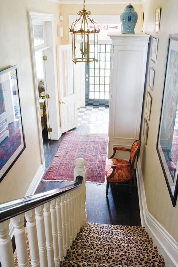 Leopard stairs in the foyer from Style at Home